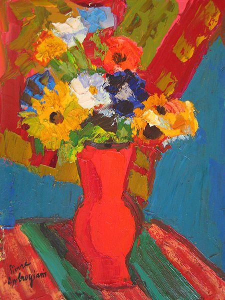 'Fleurs au Vase' Oil on canvas: 63 x 48 cm Signed by Pierre Ambrogiani (1907 – 1985)