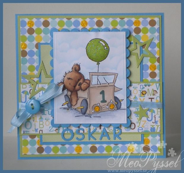 Sweet birthday card for one-year-old with a teddy and a balloon and happy colors for a boy...