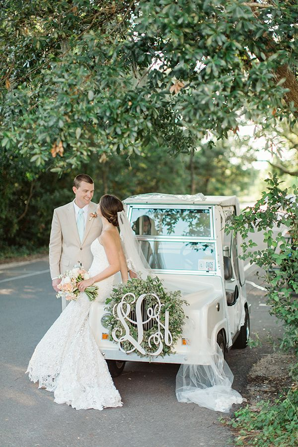 Monogram your going away car (or golf cart!). And, nine more of our best monogram wedding ideas! http://southernweddings.com/2016/06/13/ten-best-monogram-wedding-ideas/