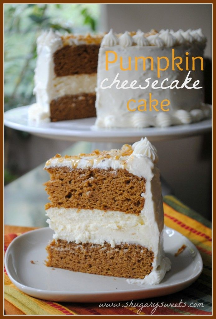 Pumpkin Cheesecake CakeHealth Desserts, Cake Recipe, Cheesecake Cake, Pumpkin Cakes, Food, Shugary Sweets, Pumpkincheesecake, Pumpkin Cheesecake, Cream Cheese Frosting