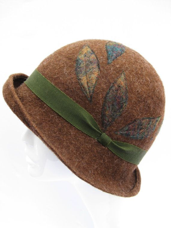 1920s Cloche hat soft brown natural wool handmade by SwanandStone, $185.00