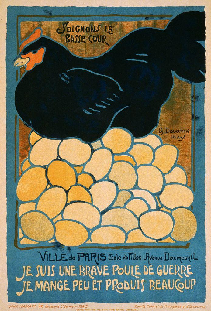 Je suis une brave poule de guerre. French WWI poster, 1916.