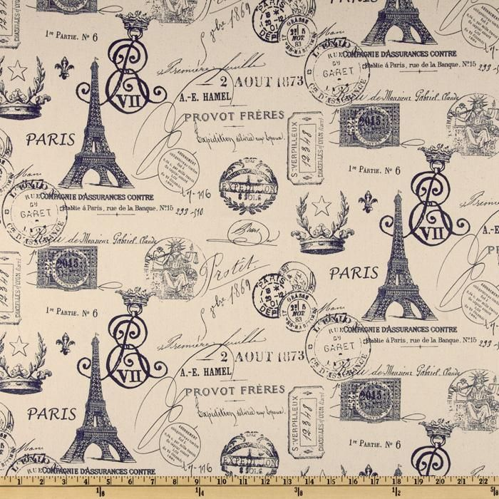 premier prints french stamp sunshine/navy/natural from fabric.com