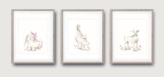 Farm Animals, Set of 3 Prints, Pink, White Nursery Art, Baby girl, Duck, Bunny, Lamb, Childrens Art, Kids Wall Decor, Painting, Print
