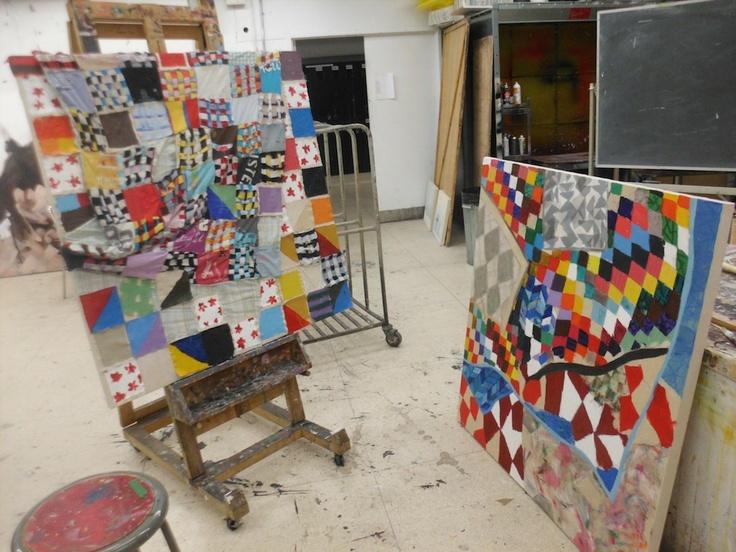 Quilterly by Alannah Dymond. 4' x 4' each, Acrylic & cotton fabric on canvas