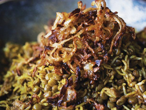 The Mejadra recipe in Yotam Ottolenghi and Sami Tamimi's Jerusalem: A Cookbook is Tamimi's take on the traditional Arab comfort food combination of rice, lentils, and onions.