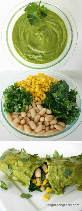 White Bean Spinach Enchiladas with Avocado Cilantro Sauce. These are ...