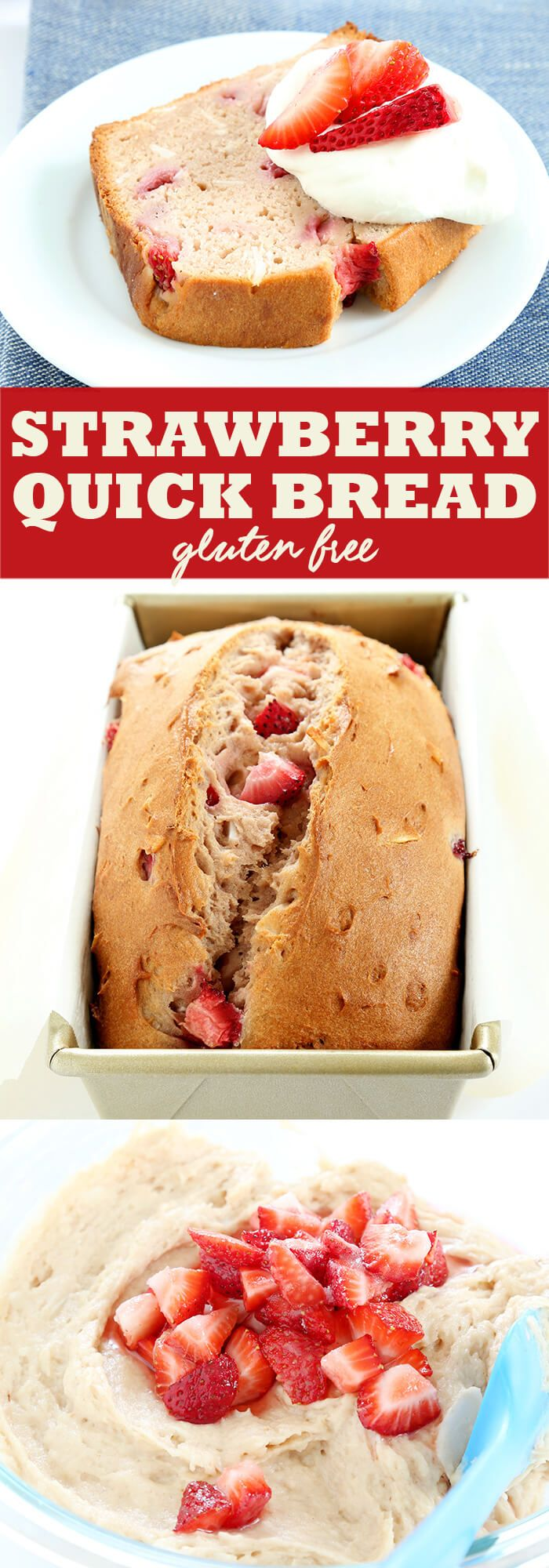 Fresh gluten free strawberry bread, packed with strawberry flavor. It can even be made with frozen berries.A perfect alternative to banana bread.