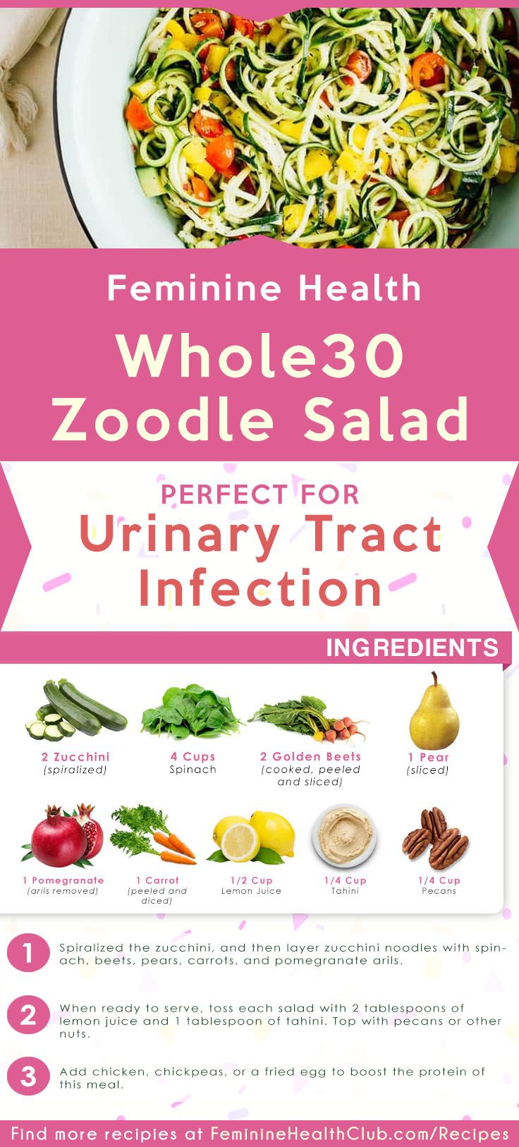 Whole30 Zoodle Salad Recipe For Urinary Tract Infection Recipe Recipes Recipes With Yeast Feminine Health