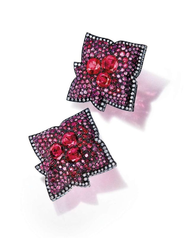 A pair of ruby and diamond earrings, by JAR