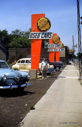 Chrysler Plymouth Dealership - Mayrose Motors Inc. - Melrose Park, IL. - Used Car Lot - Studebaker Car - Circa: 1950's