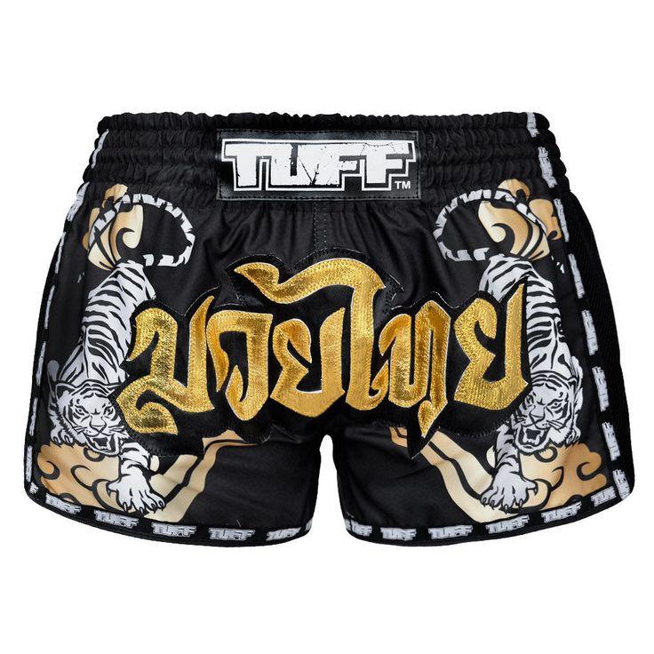 Vintage Boxing Shorts Black Kids Gym Muay Thai Training Womens Gym Shorts Small #TuffSport