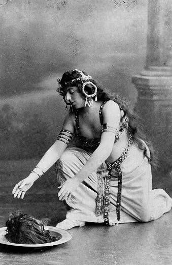 "This is Alice Guszalewicz as Salome in the Richard Strauss opera, c. 1910. Richard Ellmann misidentified this photograph in his 1987 biography as ""Wilde in costume as Salome,"" the error being finally corrected in 2000."