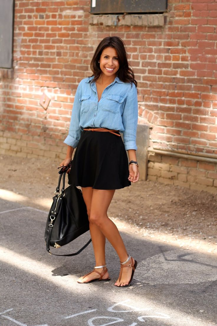 Chambray  Black Skirt  Fashion, Black Skirt Outfits -6756