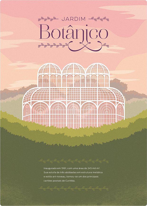 Ilustrações dos pontos turísticos de Curitiba por Maycon Prasniewski;
