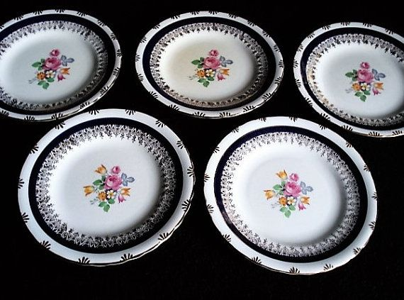 Five, Fine Bone China, Tea Plates, Sandwich Plates, Blue and Pink Floral Plates, Side Plates, Vintage Party Tableware, Vintage Plates