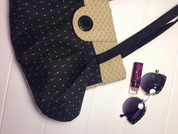 Black spot & natural upholstery Shoulder bag by NOOPdesigns