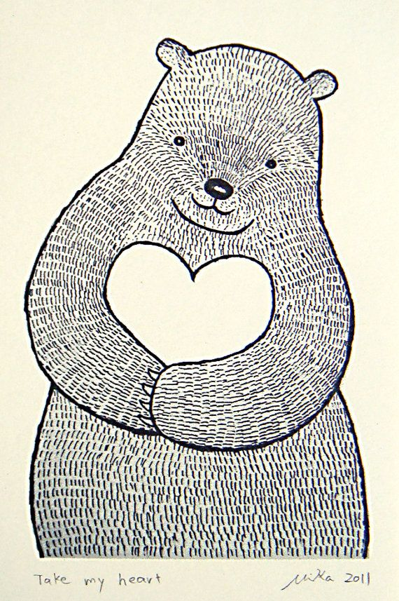 Bear Heart Original Ink Drawing Print Black White Ivory by mikaart