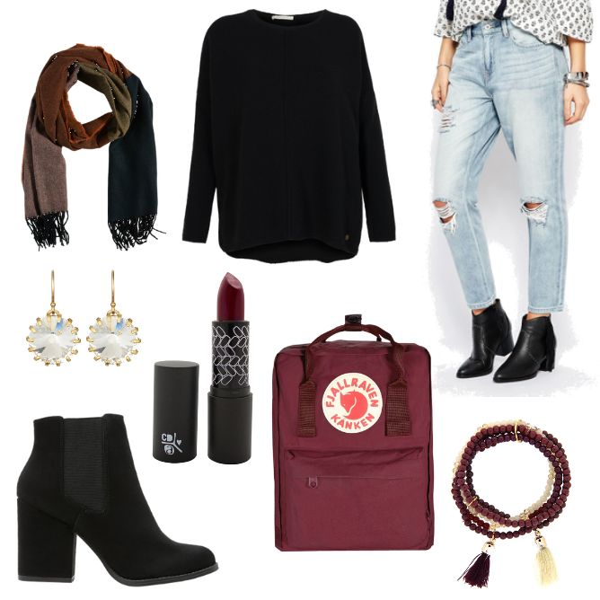 OneOutfitPerDay 2017-01-12 - #ootd #outfit #fashion #oneoutfitperday #fashionblogger #fashionbloggerde #frauenoutfit #herbstoutfit - Frauen Outfit Frühlings Outfit Herbst Outfit Outfit des Tages absolution Ankle Armband Armedangels Blau Boot Boyfriend Jeans Even & Odd Fjällräven J.Crew Lippenstift Ohrringe ONLY rot Rucksack Schal Selected Femme Strickpullover sweet deluxe