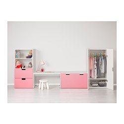 STUVA Förvaringskombination med bänk, vit, rosa - 300x50x128 cm - IKEA