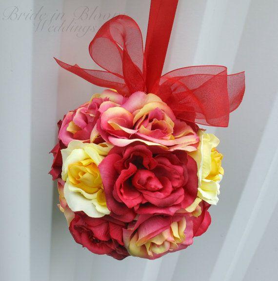 Flower girl pomander red yellow dusty pink by BrideinBloomWeddings, $22.00