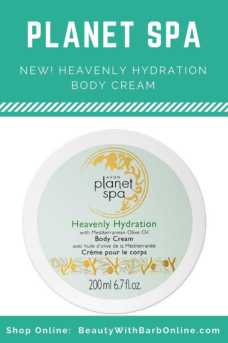 New!  Avon Planet Spa Heavenly Hydration with Mediterranean Olive Oil Body Cream.  Campaign 17 2017 sales begin online 7/22/17.  Shop Avon Planet Spa online at http://barbieb.avonrepresentative.com #avon #newavon #planetspa #beautywithbarb #bathandbody #homespaday #avonrep