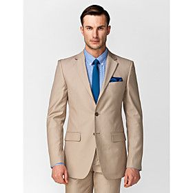 Cream polyester tailored fit two piece suit w matching for Dress shirt for interview