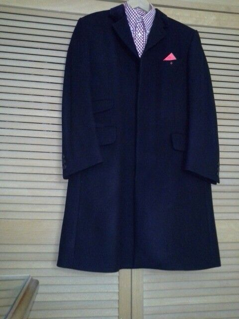 My black Crombie style coat by Adam Shener with a red gingham Ben Sherman shirt (camera flash makes it appear blue)
