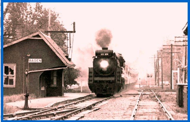 BADEN, Ontario - Canadian National RR steam train at the station 1955 - canada-rail