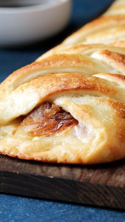 Roast beef, Swiss cheese and caramelized onions, all wrapped tight in a crispy, chewy braided loaf that's perfect for dipping.