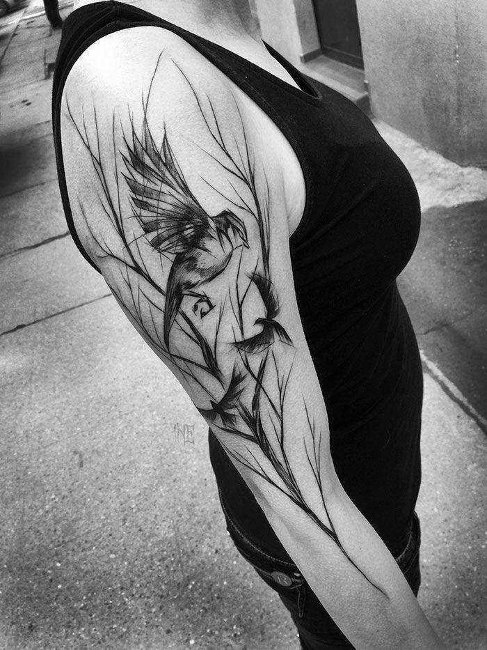 Les tatouages en forme desquisse de Inez Janiak  2Tout2Rien Notre site: http://www.montatoueur.fr