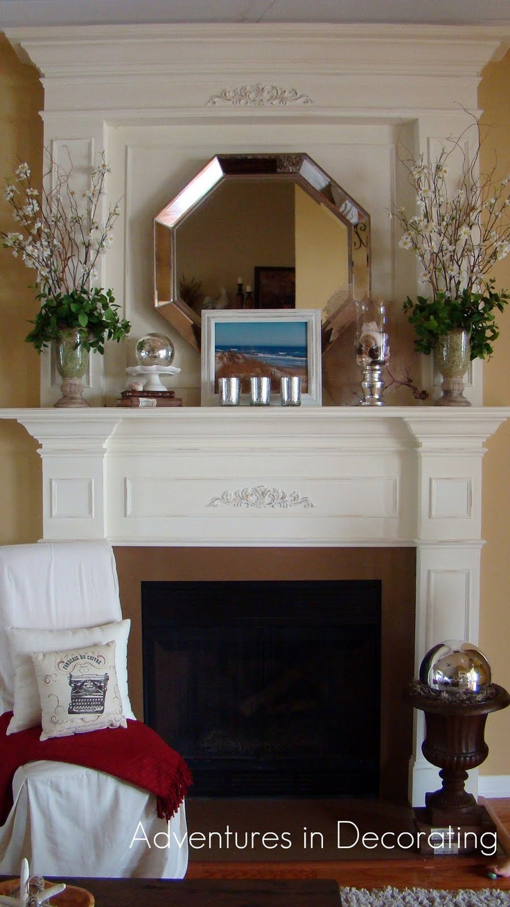 Top 100 fireplace mantel decor with mirror image - Mirrored Garden Ball In The Urn Mirror With The Icy Sprigs January Decor Mantle Decoratingdecorating Blogsfireplace