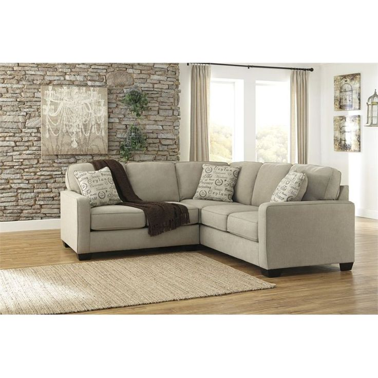 Ashley furniture alenya 2 piece fabric sectional in quartz for 8 piece living room furniture