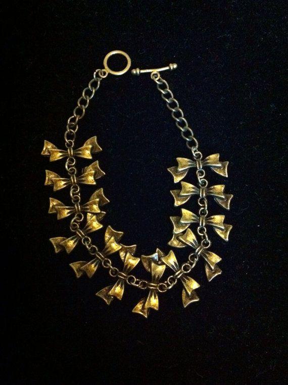 Copper Tone Ribbon Charm Bracelet on Etsy, $4.75 CAD