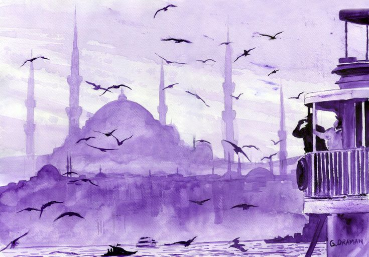 paintings of istanbul, turkey art, travel europe