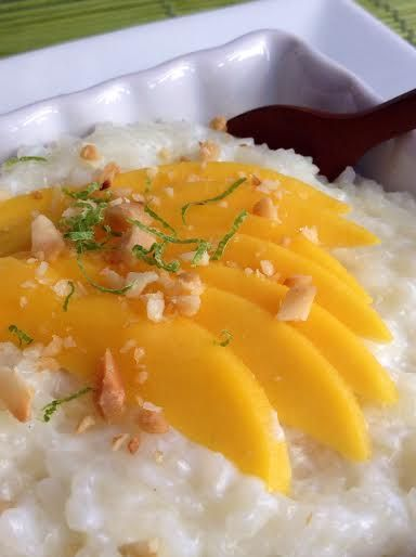 Coconut White Chocolate Rice Pudding with Fresh Lime, Mango, and Toasted Macadamia Nuts