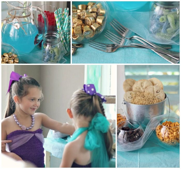 Create a magical mermaid party using inexpensive tulle and some awesome dollar store finds.