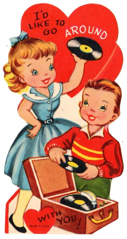 TEENS PLAY 45 RPMS ON OLD PHONOGRAPH - RECORD PLAYER / VINTAGE VALENTINE CARD