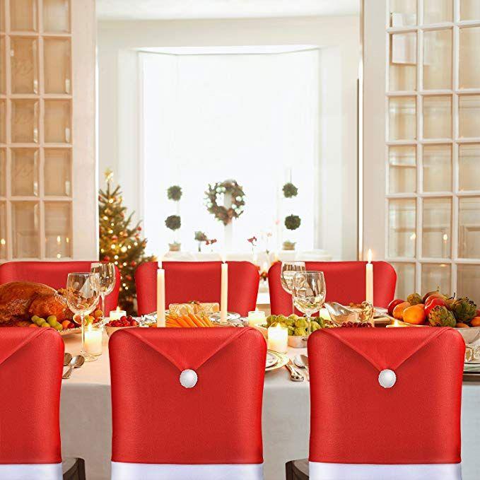 Amfocus Christmas Chair Back Cover Santa Claus Hat Slipcovers
