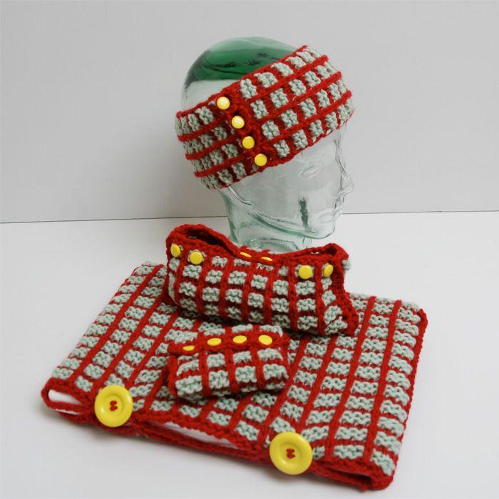 Gratis strikkeoppskrift på PC-cover, penalhus, pannebånd