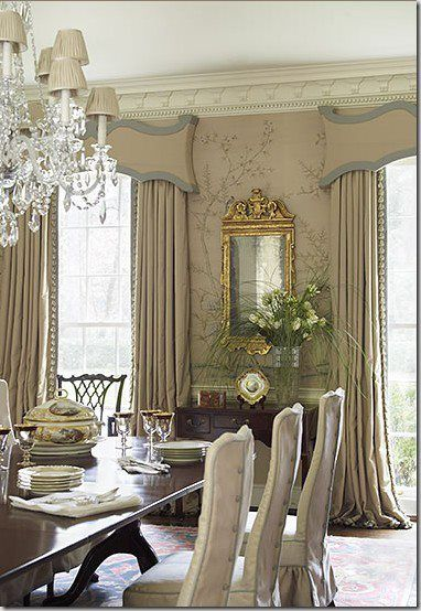 Gorgeous cornices decor drapery ideas pinterest for Formal dining room window treatments