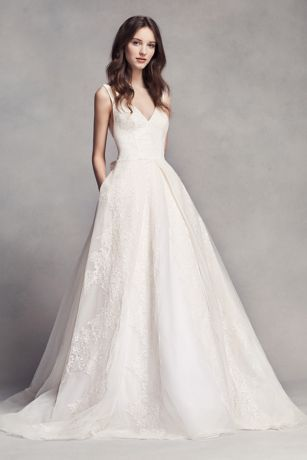 White by Vera Wang V-Neck Wedding Dress with Bow - Davids Bridal