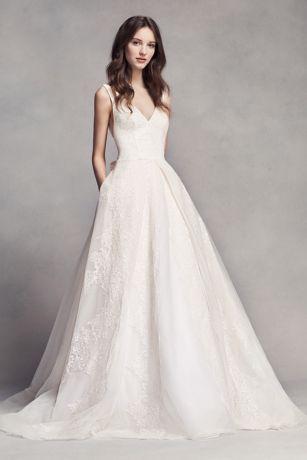 White by Vera Wang V-Neck Wedding Dress with Bow - Davids Bridal