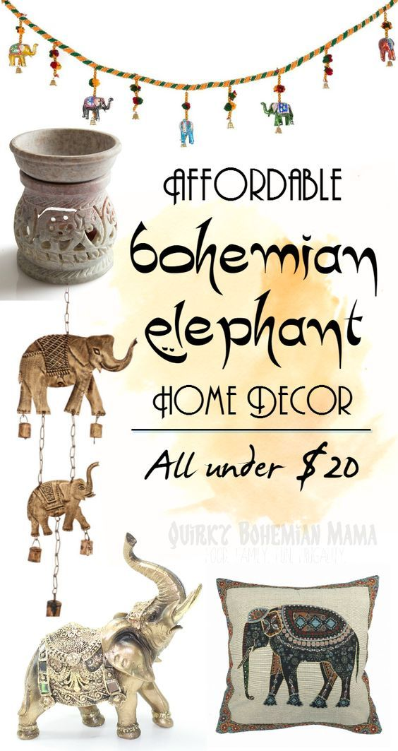 Affordable Bohemian Elephant Home Decor {Boho bohemian hippie home decor under$20} Bohemian home decor. Boho chic decor. Bohemian Interior Design. Indian Elephant home decor. Gifts for elephant lovers. #bohemian