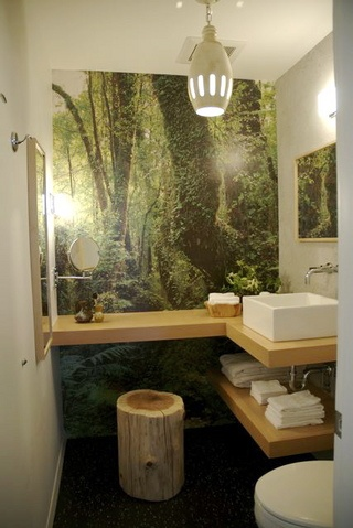 Superb Bring The Outdoors In, Like This Bathroom Mural, With Different Wall Paper  Designs! Design Inspirations