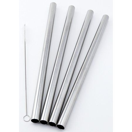 "4 BOBA Straw Stainless Steel Extra Wide 1/2"" x 9.5"" Long Tapioca Pearl Bubble Tea Thick FAT"