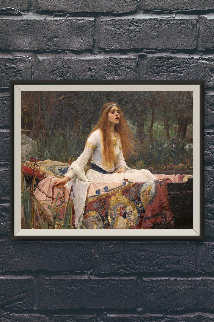 The Lady Of Shalott Painting By John William Waterhouse Vintage Wall Art Print At Retrograde Vintage Wall Art Vintage Art Paintings Vintage Wall Art Prints