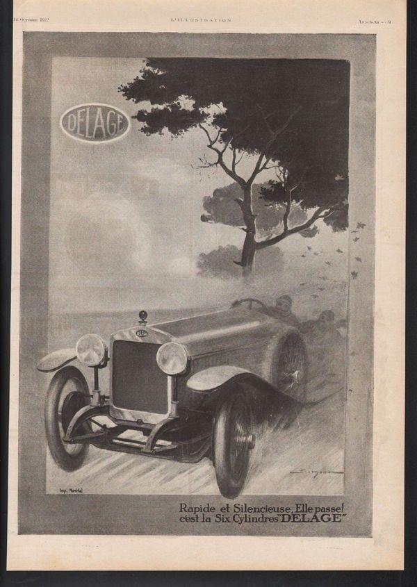 1922 DELAGE CAR SIMONR RACE SPEED PARIS AUTO MEMORABILIA MOTOR ...