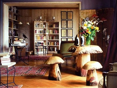It looks like Mr Popper dropped some acid... I'm not hating the mushroom table and chair set though. Just can't see where the arctic penguins fit in. And why are they waddling on the table?!    eclectic-interior-style-design-decorating-ideas-decor