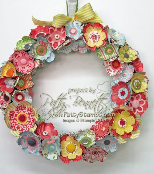 Make a Spring Wreath with Stampin Up punches and floral die cuts! by Patty Bennett, www.pattystamps.com